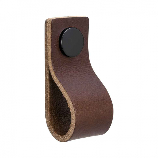 Loop - Brown Leather/Black in the group Products / Cabinet Knobs / Leather at BeslagOnline (333134-11)