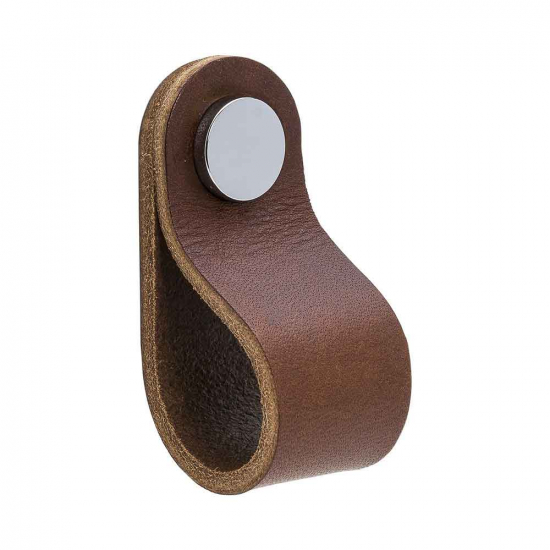 Loop Round - Brown Leather/Chrome in the group Products / Cabinet Knobs / Leather at BeslagOnline (333233-11)