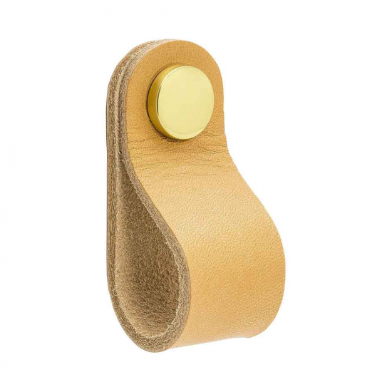 Loop Round - Nature Leather/Brass in the group Products / Cabinet Knobs / Leather at BeslagOnline (333241-11)