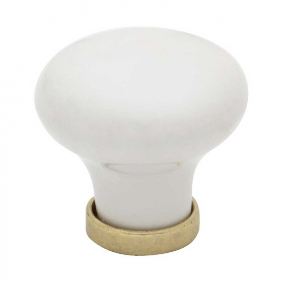 Cabinet Knob 24136 - White/Brass in the group Cabinet Knobs / Color/Material / White  at BeslagOnline (39633-11)
