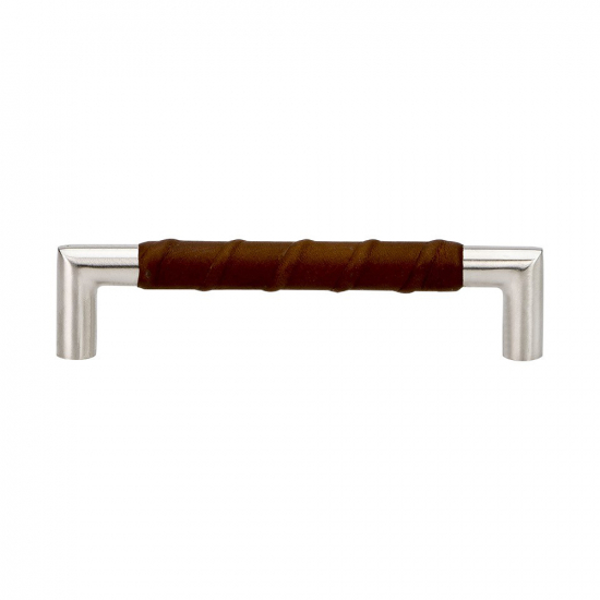 Handle Norma 12 - Stainless Steel/Brown Leather in the group Products / Kitchen Handles / Leather at BeslagOnline (htg-norma12-rostfritt)